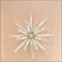 "Silver Starburst Glass Bead Ornament ~ 3-1/2"" ~ Czech Republic"