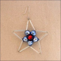 "Openwork Blue and Silver Glass Bead Star ~ 2-1/4"" ~ Czech Republic"