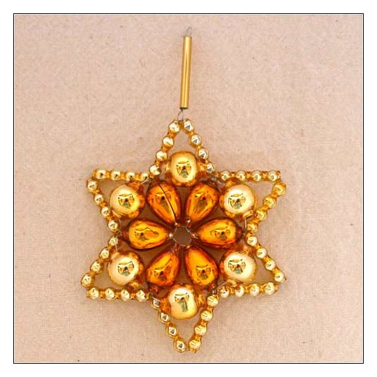 "Two-tone Gold Glass Bead Flower Star Ornament ~ 2-1/2"" ~ Czech Republic"