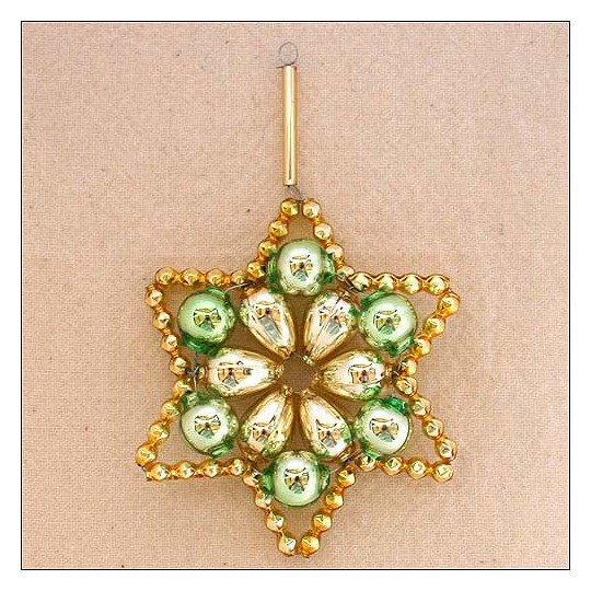 "Green and Gold Glass Bead Flower Star Ornament ~ 2-1/2"" ~ Czech Republic"