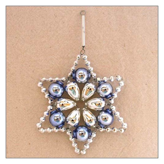 "Silver and Blue Glass Bead Flower Star Ornament ~ 2-1/2"" ~ Czech Republic"