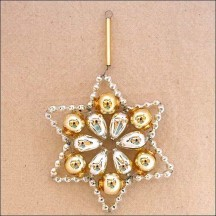 "Silver and Pale Gold Glass Bead Flower Star Ornament ~ 2-1/2"" ~ Czech Republic"