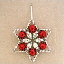 "Silver and Red Glass Bead Flower Star Ornament ~ 2-1/2"" ~ Czech Republic"