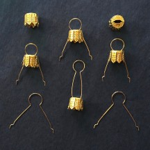 10 mm Christmas Ornament Caps from Germany ~ Set of 12 ~ Gold