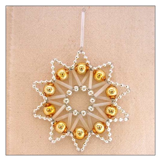 "Gold and Silver Glass Bead Lace Star Ornament ~ 3"" ~ Czech Republic"
