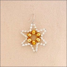 "Small Silver with Gold Glass Bead Star ~ 1-3/4"" ~ Czech Republic"