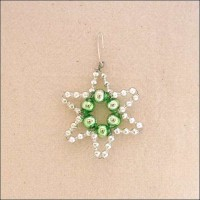 """Small Silver with Pale Green Glass Bead Star ~ 1-3/4"""" ~ Czech Republic"""