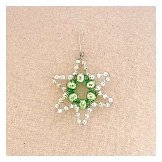 "Small Silver with Pale Green Glass Bead Star ~ 1-3/4"" ~ Czech Republic"
