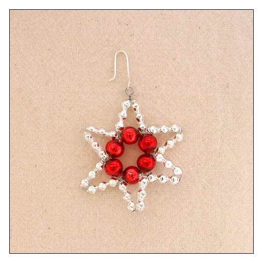 "Small Silver with Red Glass Bead Star ~ 1-3/4"" ~ Czech Republic"