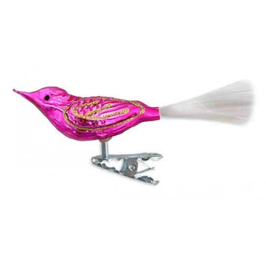 "Shiny Hot Pink Clipping Bird Ornament ~ Germany ~ 3-3/4"" long"