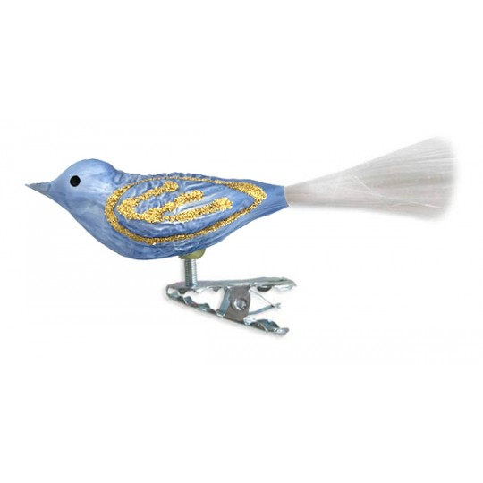 "Matte Blue Clipping Bird Ornament ~ Germany ~ 3-3/4"" long"
