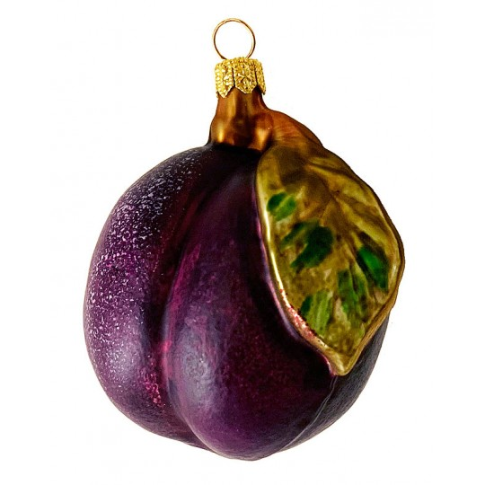 Large Blown Glass Plum Ornament ~ Poland