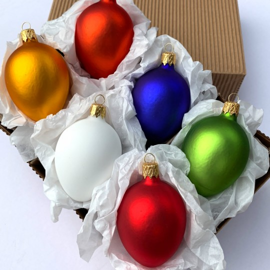 "Blown Glass Egg Ornaments ~ Boxed Set ~ 2-1/2"" tall"