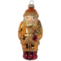"Shiny Golden Lauscha Glass Santa Ornament ~ Germany ~ 5"" tall"