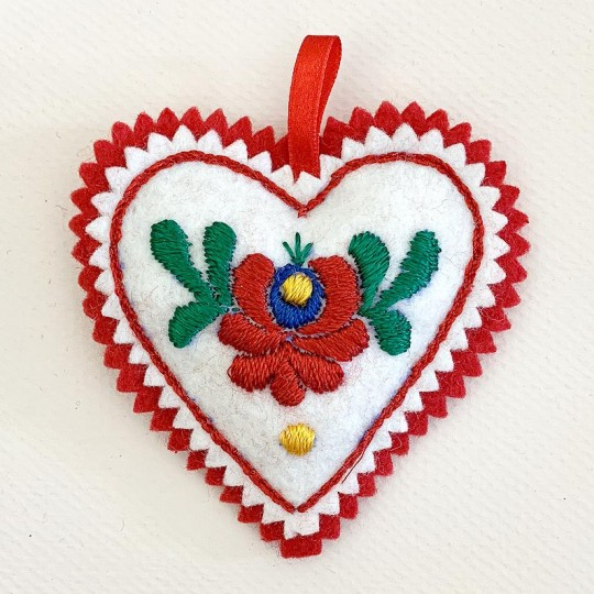 "Hand Embroidered Felt Heart Ornament ~ Kaloska Matyo Hungary ~ 4"" tall"