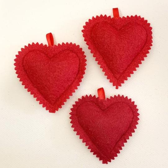 "Hand Embroidered Felt Heart Ornament ~ Kaloska Matyo Hungary ~ 4"" tall"