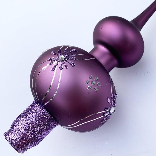 "Fancy Matte Purple Blown Glass Classic Christmas Tree Topper ~ 11-3/4"" tall"