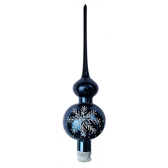 "Midnight Blue Snowflake Blown Glass Christmas Tree Topper ~ 11-3/4"" tall"
