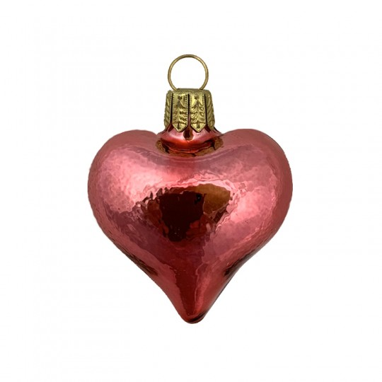 "Tiny Shiny Pink Blown Glass Heart Ornament ~ Germany ~ 1-3/4"" long"