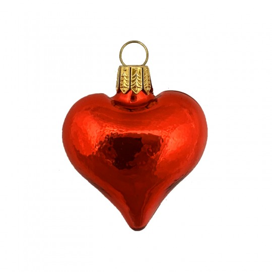 "Tiny Shiny Red Blown Glass Heart Ornament ~ Germany ~ 1-3/4"" long"