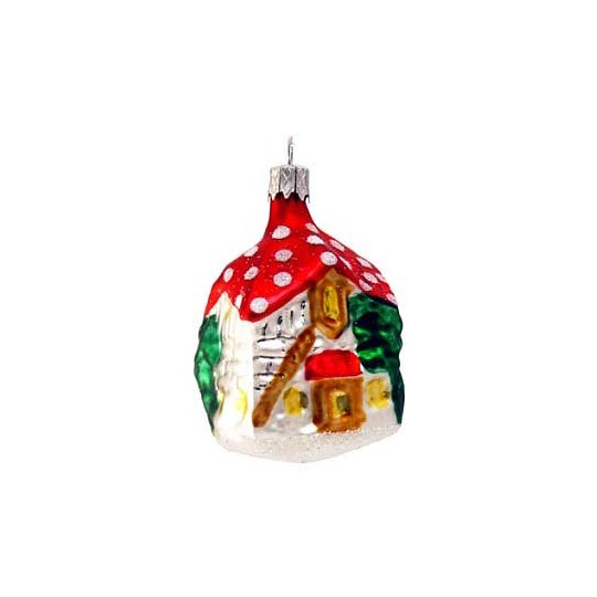 "Red Mushroom House Ornament ~ Czech Republic ~ 2-1/2"" tall"