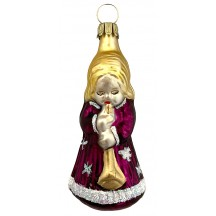"Dark Purple Musical Angel Blown Glass Ornament ~ Germany ~ 3"" tall"