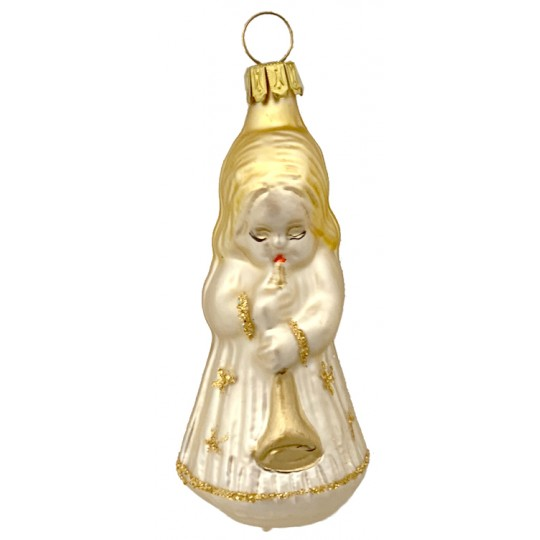 """Pale Gold Musical Angel Blown Glass Ornament ~ Germany ~ 3"""" tall"""