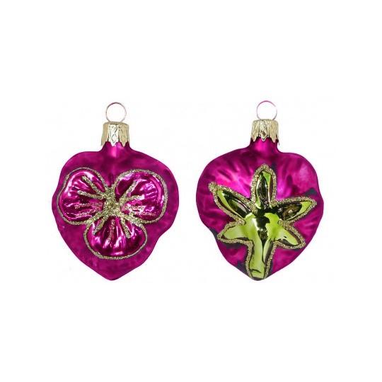 "Petite Blown Glass Pink Pansy Ornament ~ Czech Republic ~ 2"" tall"