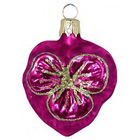 "Petite Blown Glass Pink Pansy Ornament ~ Czech Republic ~ 2"" tall"