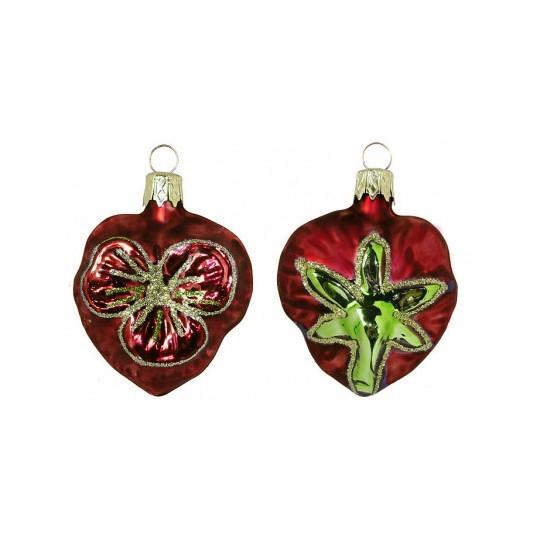 "Petite Blown Glass Burgundy Pansy Ornament ~ Czech Republic ~ 2"" tall"