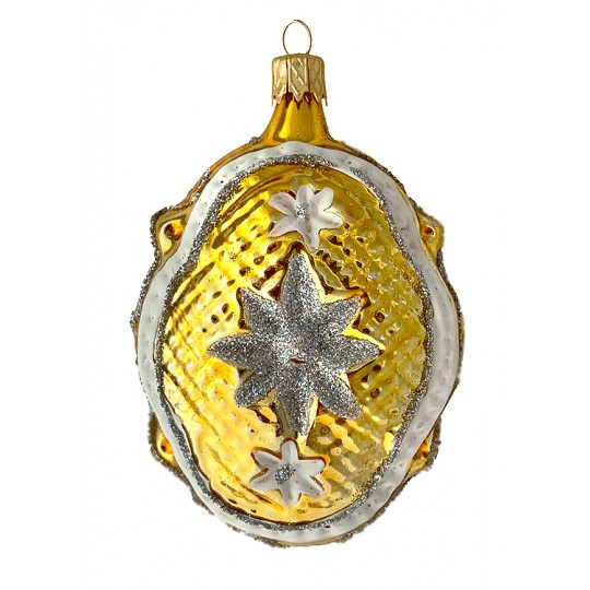 "Golden Quilted Fantasy Shape Blown Glass Ornament ~ Czech Republic ~ 3-1/4"" tall"