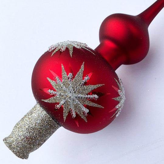 "Matte Red Classic Christmas Tree Topper with Stars ~ 11-3/4"" tall"