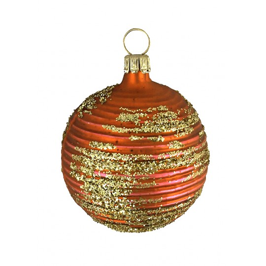 "Matte Copper Blown Glass Striped Ball Ornament ~ Germany ~ 2"" tall"