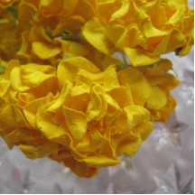 16 Paper Frilled Roses in Yellow