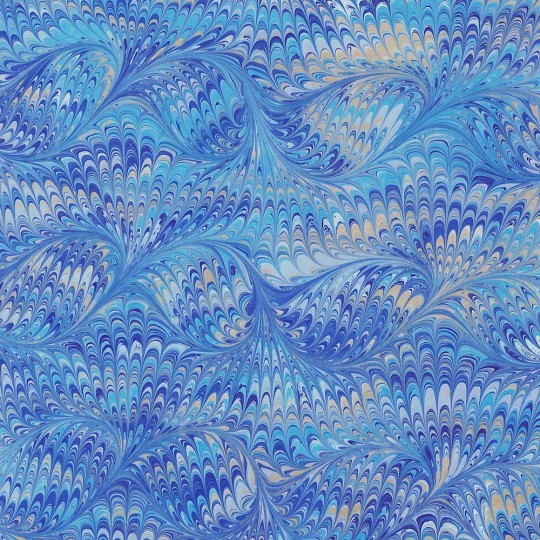 Hand Marbled Paper Bird Wing Pattern in Blues ~ Berretti Marbled Arts