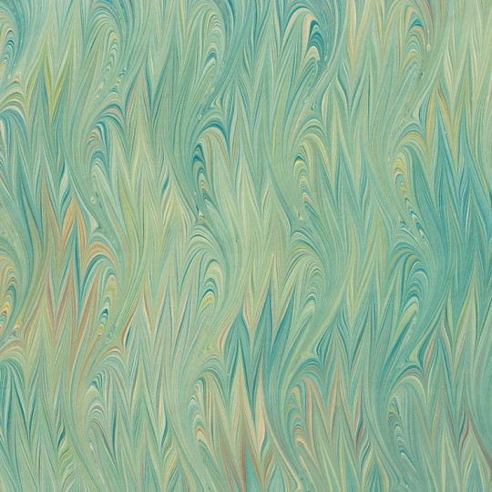 Hand Marbled Paper Flamed Pattern in Greens ~ Berretti Marbled Arts