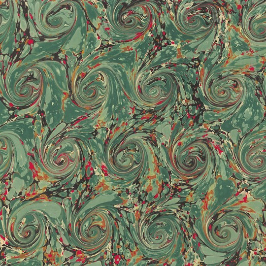 Hand Marbled Paper French Curl Pattern in Green and Red ~ Berretti Marbled Arts