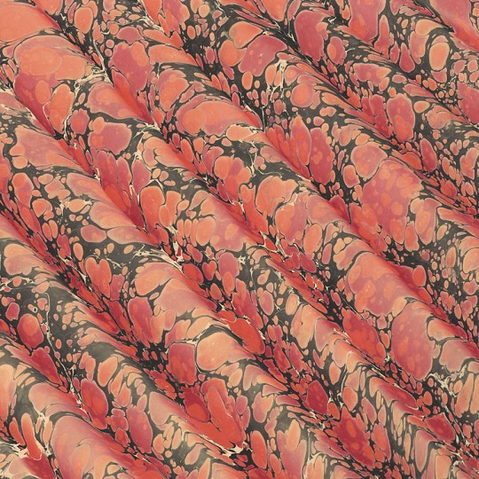 Hand Marbled Paper Spanish Wave Pattern in Orange and Black ~ Berretti Marbled Arts