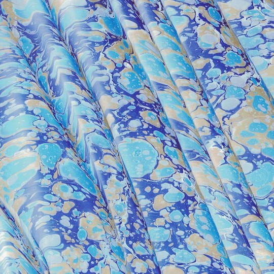 Hand Marbled Paper Spanish Wave Pattern in Blues ~ Berretti Marbled Arts