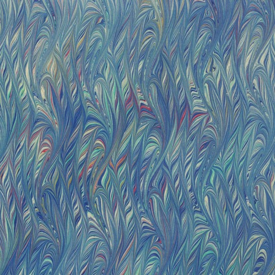 Hand Marbled Paper Flamed Pattern in Blues ~ Berretti Marbled Arts