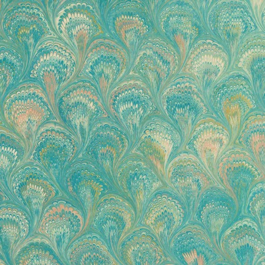Hand Marbled Paper Peacock Pattern in Greens ~ Berretti Marbled Arts