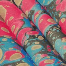 Hand Marbled Paper Spanish Wave Pattern in Reds and Blues ~ Berretti Marbled Arts