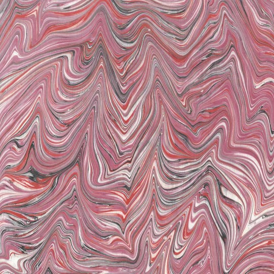 Hand Marbled Paper Blown Marble Pattern in Reds and Creams ~ Berretti Marbled Arts