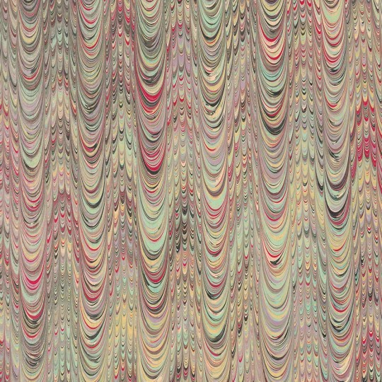 Hand Marbled Paper Combed Pattern in Multi-color ~ Berretti Marbled Arts