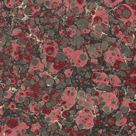 Hand Marbled Paper Stone Marble Pattern in Burgundy and Rose Pink ~ Berretti Marbled Arts