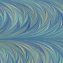 Hand Marbled Paper Combed Twilled Pattern in Blues ~ Berretti Marbled Arts