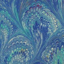 Hand Marbled Paper Peacock Pattern in Blues ~ Berretti Marbled Arts