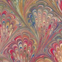 Hand Marbled Paper Peacock Pattern in Chartreuse and Red ~ Berretti Marbled Arts