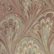 Hand Marbled Paper Peacock Pattern in Tans ~ Berretti Marbled Arts