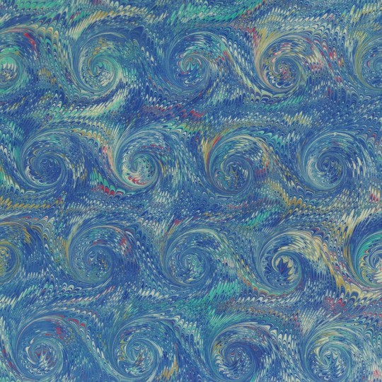 Hand Marbled Paper Combed French Curl Pattern in Blues ~ Berretti Marbled Arts